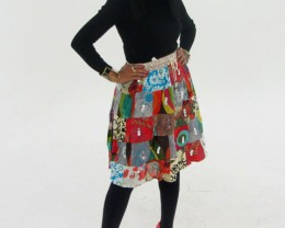 Patchwork Cotton Mid Length Skirt  OP 33
