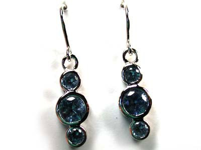 MODERN  AQUAMARINE LIKE STERLING SILVER EARRINGS AAA625